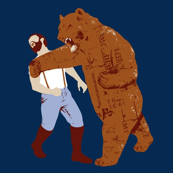Bear Punches Man Back Tshirt  Man Cave Ideas