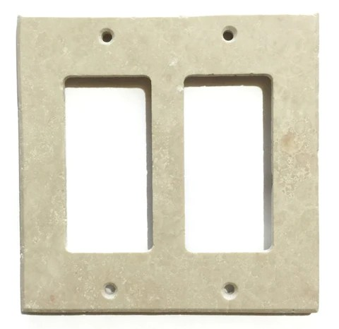 ivory travertine double rocker switch wall plate switch plate cover honed