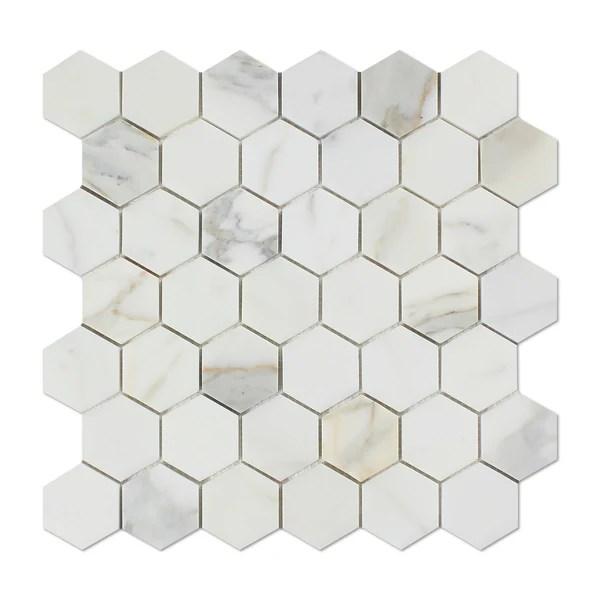 Calacatta Gold Marble 2 Hexagon Mosaic Tile Polished