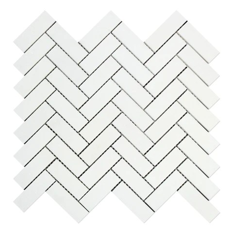 thassos white marble polished 1 x 3 herringbone mosaic tile