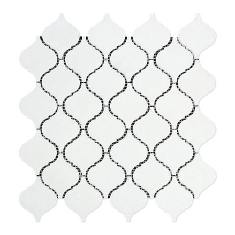 thassos white marble honed lantern arabesque mosaic tile