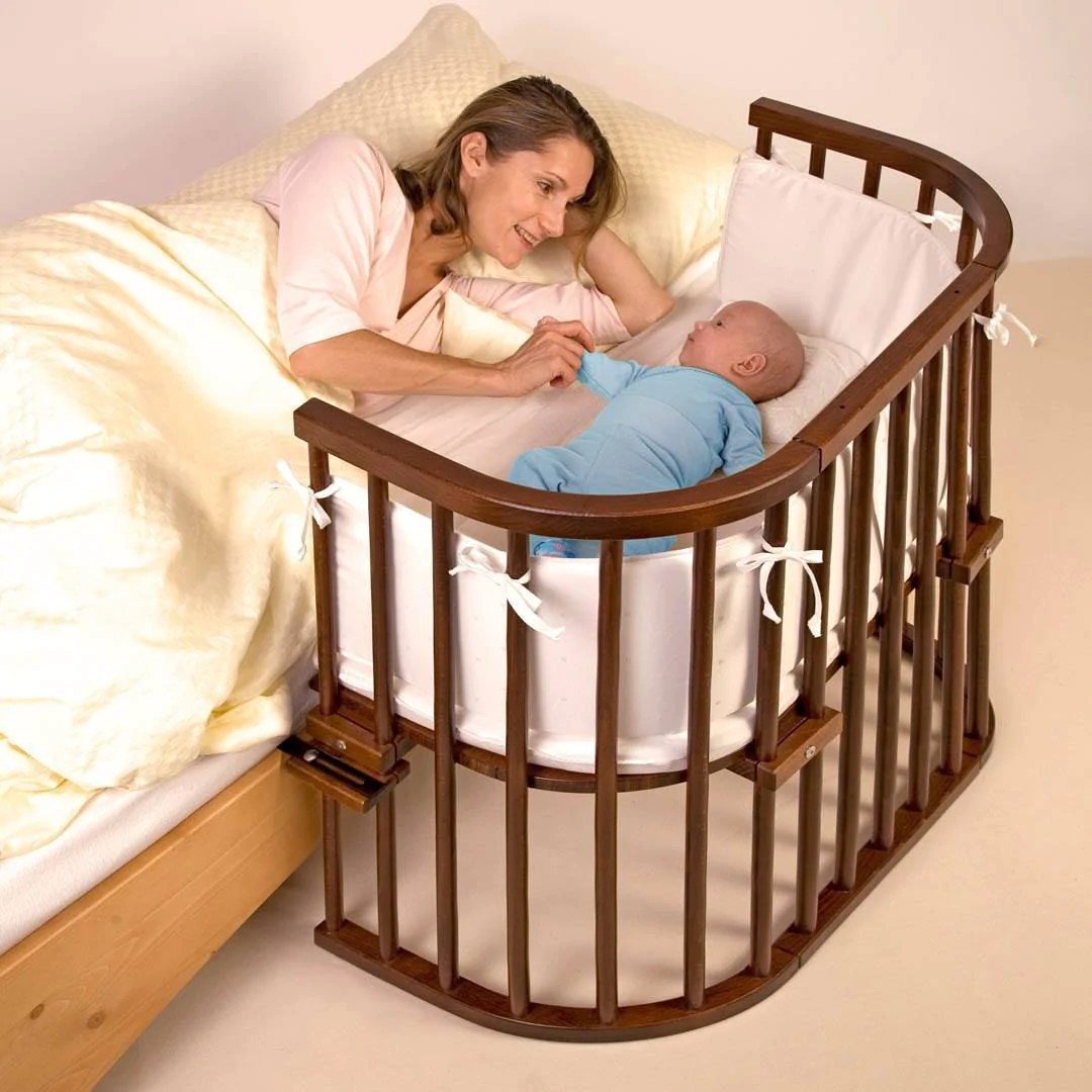 babybay original bedside crib side rail dark wood natural baby shower