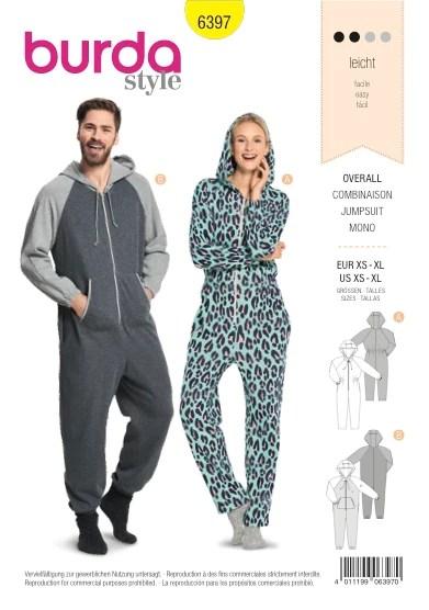 Onsie Pattern : onsie, pattern, Burda, Pattern:, BD6397, Unisex, Hooded, Jumpsuit, Onesie, WeaverDee.com