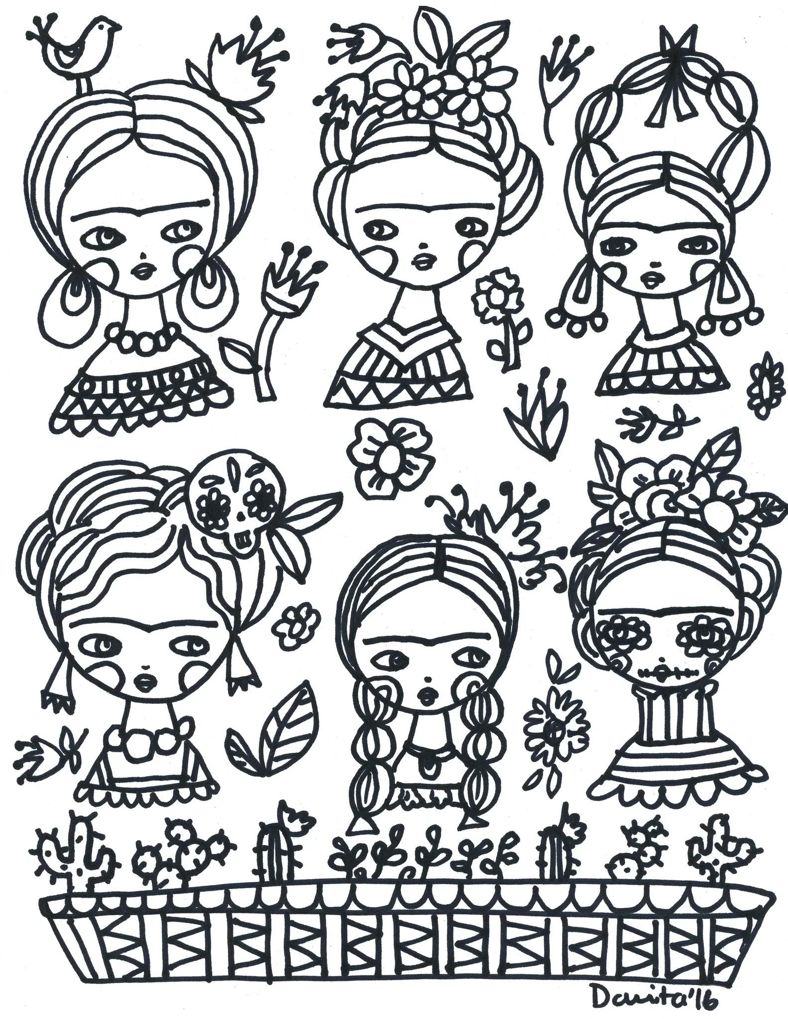 Frida Kahlo Coloring Pages : frida, kahlo, coloring, pages, Coloring, Frida!, Danita