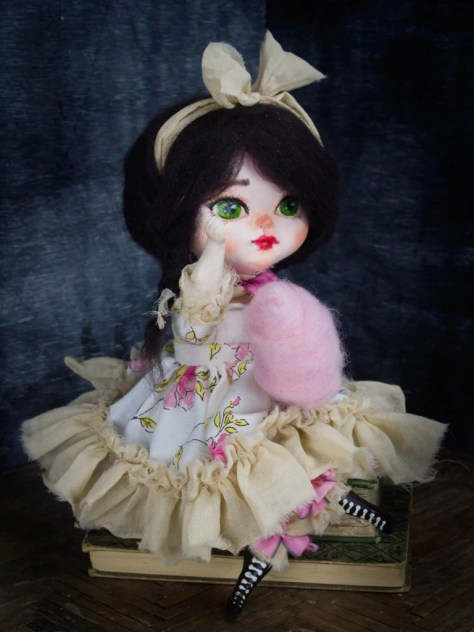 Danita Art Doll figure Sculpture Handmade Handcrafted Dollmaking Dollmaker Cotton Candy Girl