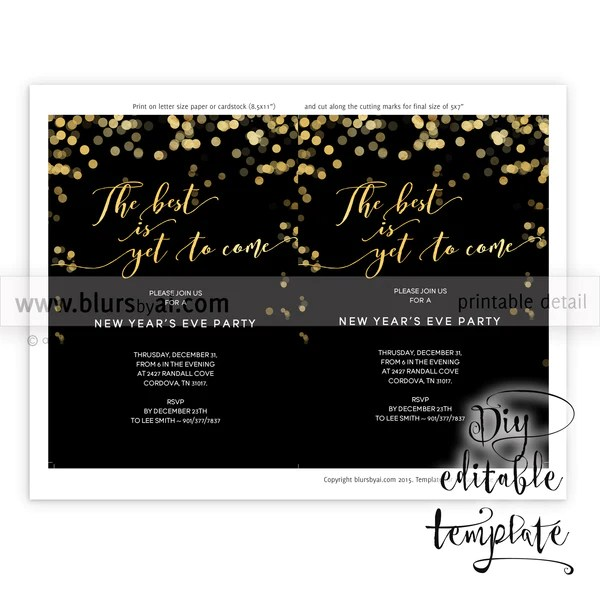 Printable New Years Eve Party Invitation Template For Word In 5x7 F Blursbyai