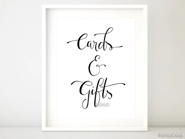 Cards And Gifts Distressed Modern Calligraphy Printable