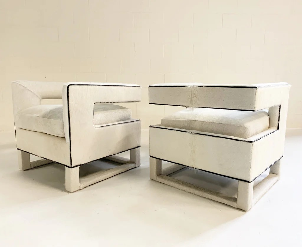 Cube Chairs Cube Chairs In Brazilian Cowhide Pair