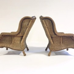Wicker Wingback Chairs Office Chair Base Plate Vintage Ralph Lauren Restored In Zebra Hide Pair Forsyth