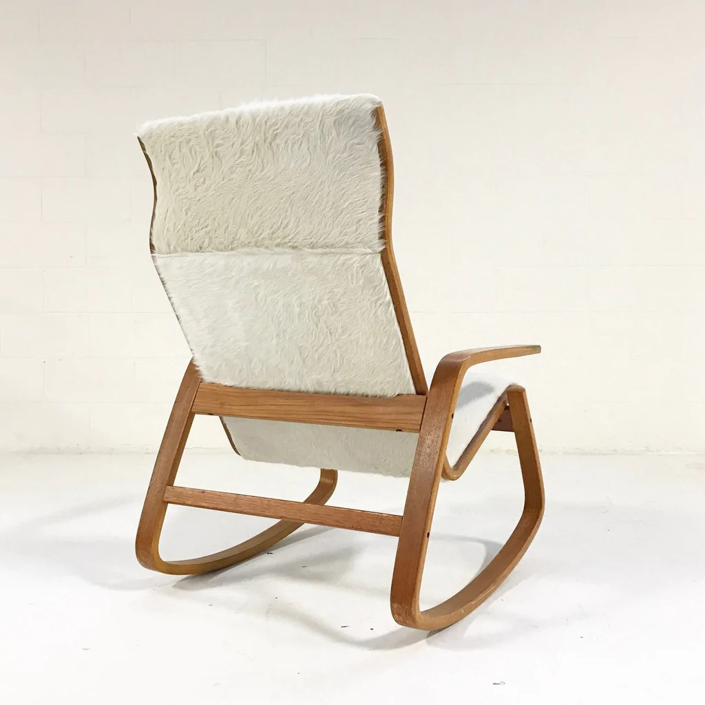 danish modern rocking chair parisian table and chairs ingmar relling for westnofa of norway in ivory cowhide forsyth