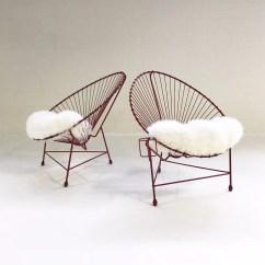 Metal Papasan Chair Hanging London Drugs Vintage Red Chairs With Custom Sheepskin Cushions Pair Forsyth