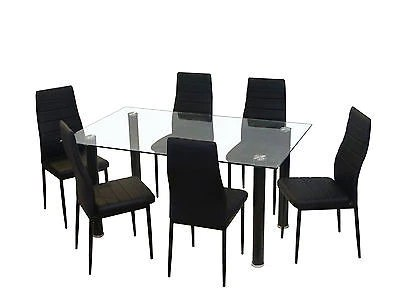kitchen glass table trash can for new dining set faux leather 4 6 chairs furniture black