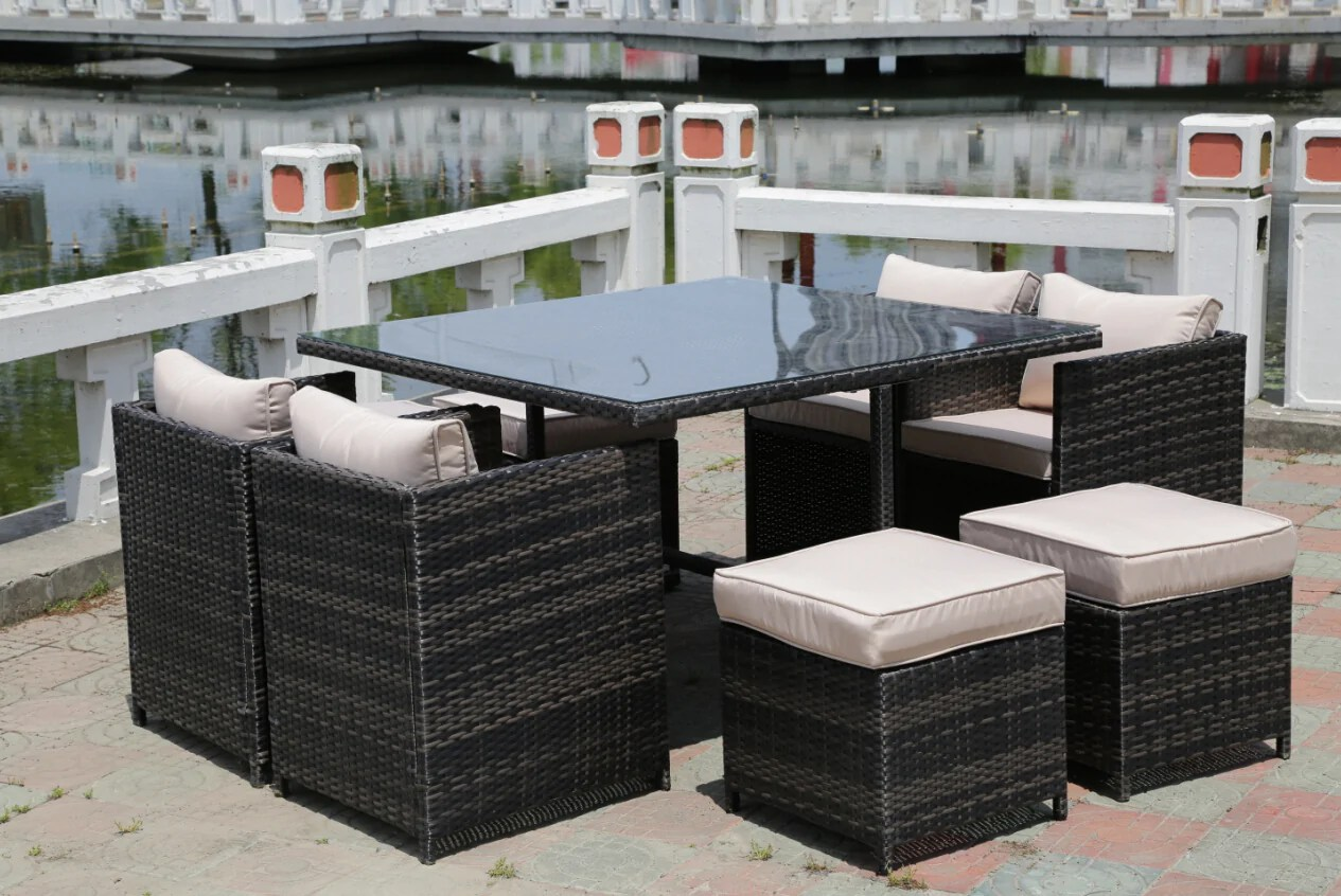 Patio Furniture Table And Chairs Rattan Wicker Conservatory Outdoor Garden Furniture Patio Cube Table Chair Set