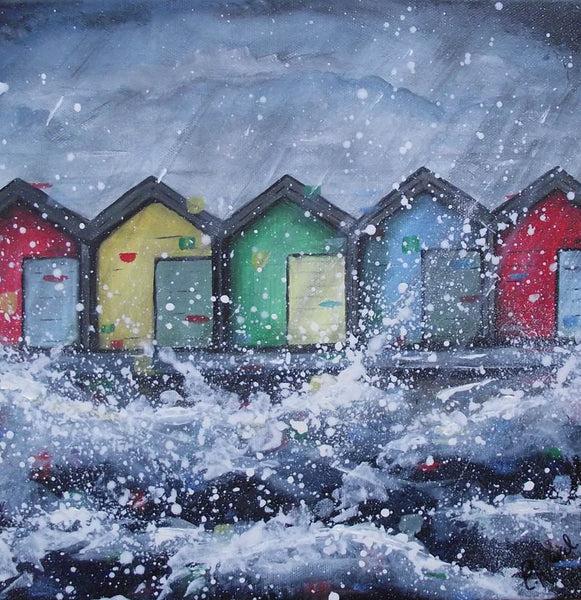 Original canvas painting Blyth beach huts  EmilyWardArt