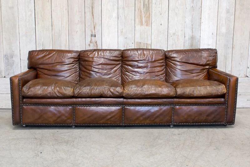 brown leather studded sofa baking soda vinegar vintage bd antiques