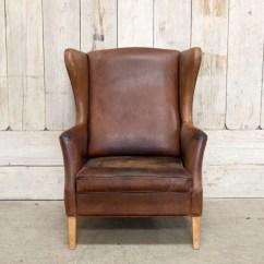 Leather Wingback Chairs Swivel Chair Process Vintage Brown Bd Antiques