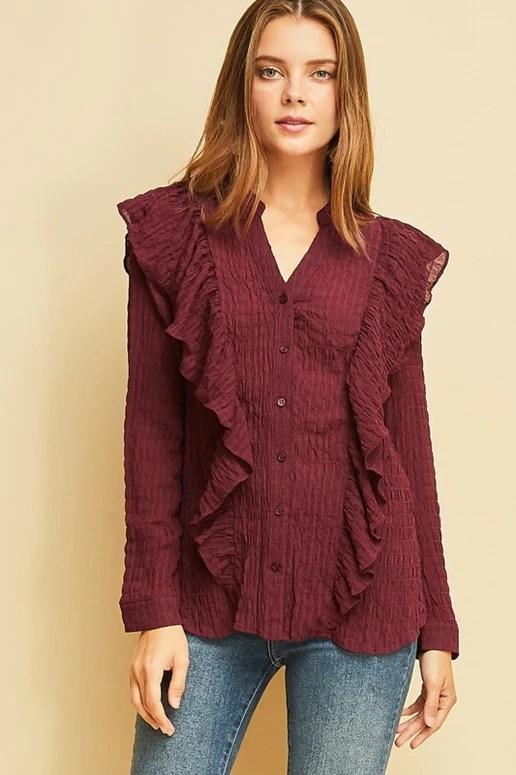 Entro plisse wine ruffle blouse also brand fashion dresses styles usa debra   passion boutique rh debraspassionboutique