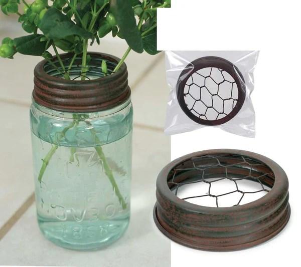 Mason Jar Flower Frog Lids Chicken Wire Inserts Set Of