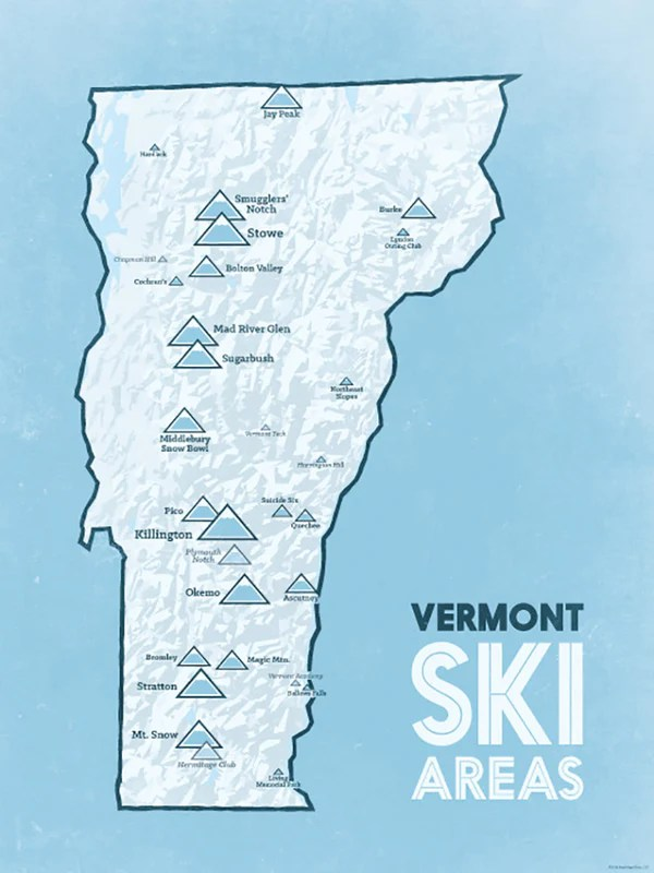 Vermont Ski Resort Map : vermont, resort, Vermont, Resorts, Poster