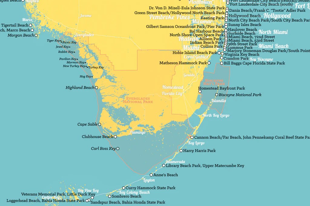 Florida Beaches Map.Large Florida Map No Cities