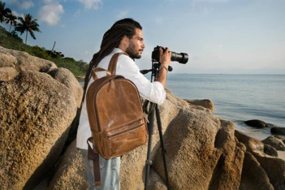 Leather Camera Backpack
