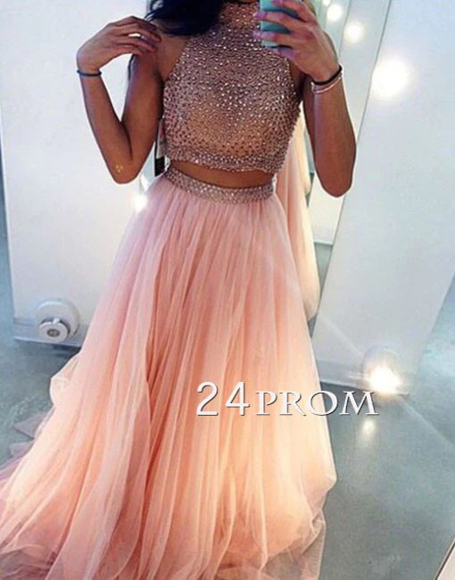 Custom Made Light Pink Two Pieces Long Prom Dress Evening