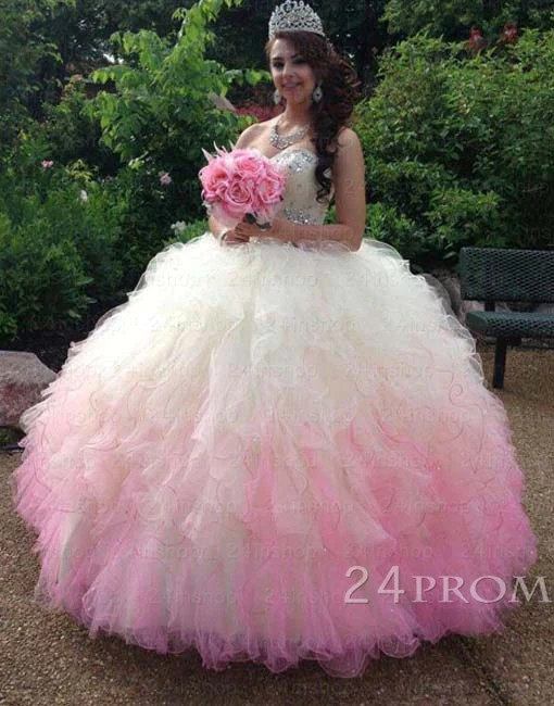 c279104a02d4 Sweetheart Ball Gown White/pink Long Prom Gown,sweet 16 Dress Prom24
