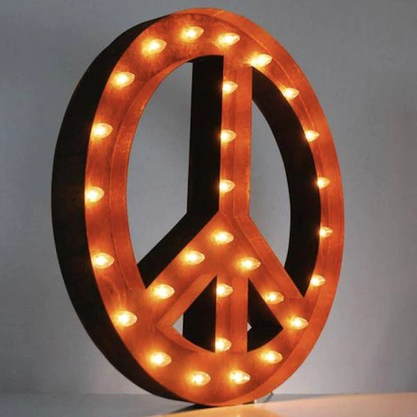 36 Large Peace Sign Vintage Marquee Sign with Lights