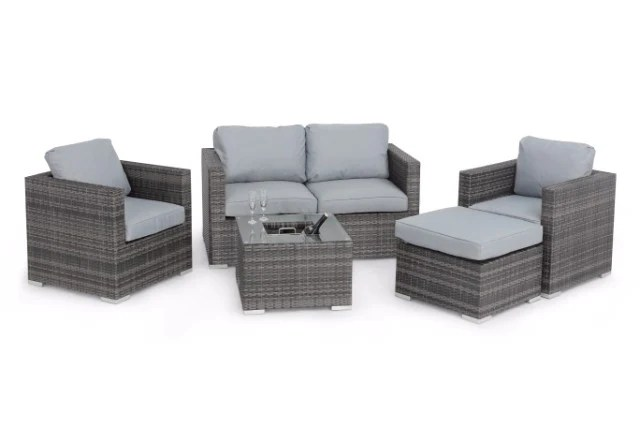 maze rattan half moon sofa set grey 2 seater with chaise sets gardenbox 5 piece ice bucket by