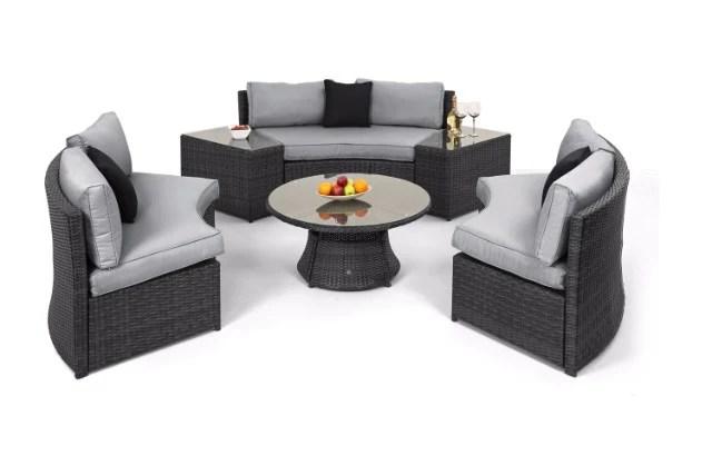rattan half moon sofa set bali table maze showroom lancashire gardenbox by