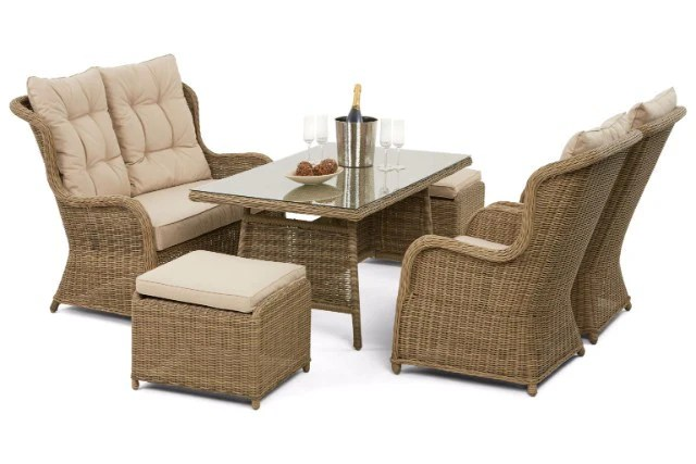 Wicker Style Rattan High Backed Sofa Dining Set
