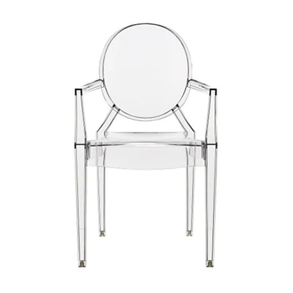 white leather bar chair floral dining chairs philippe starck style louis ghost arm - clear – s.alternative furniture