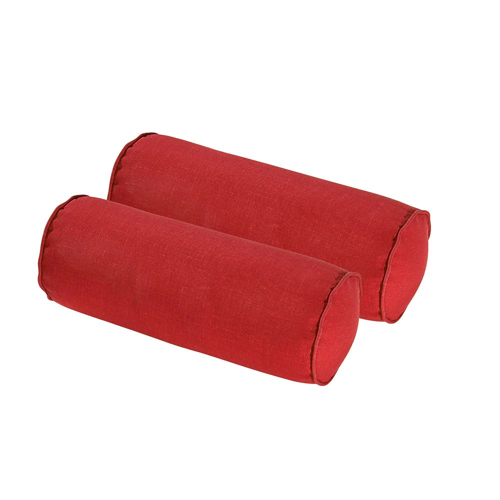 rust red round bolster pillow set of 2
