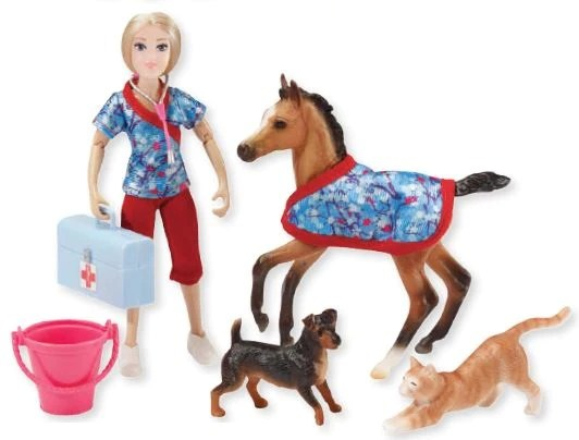 Breyer Day at the Vet Set: Warmblood Foal. Jack Russell & Stretching Cat – Triple Mountain Model Horses
