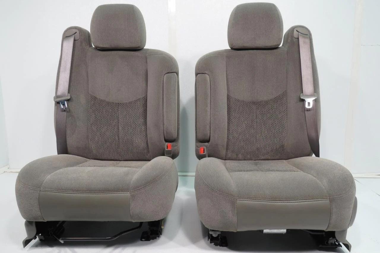 hight resolution of  gmc sierra yukon chevy silverado tahoe suburban front seats pewter gray cloth seats 2000 2001 2002