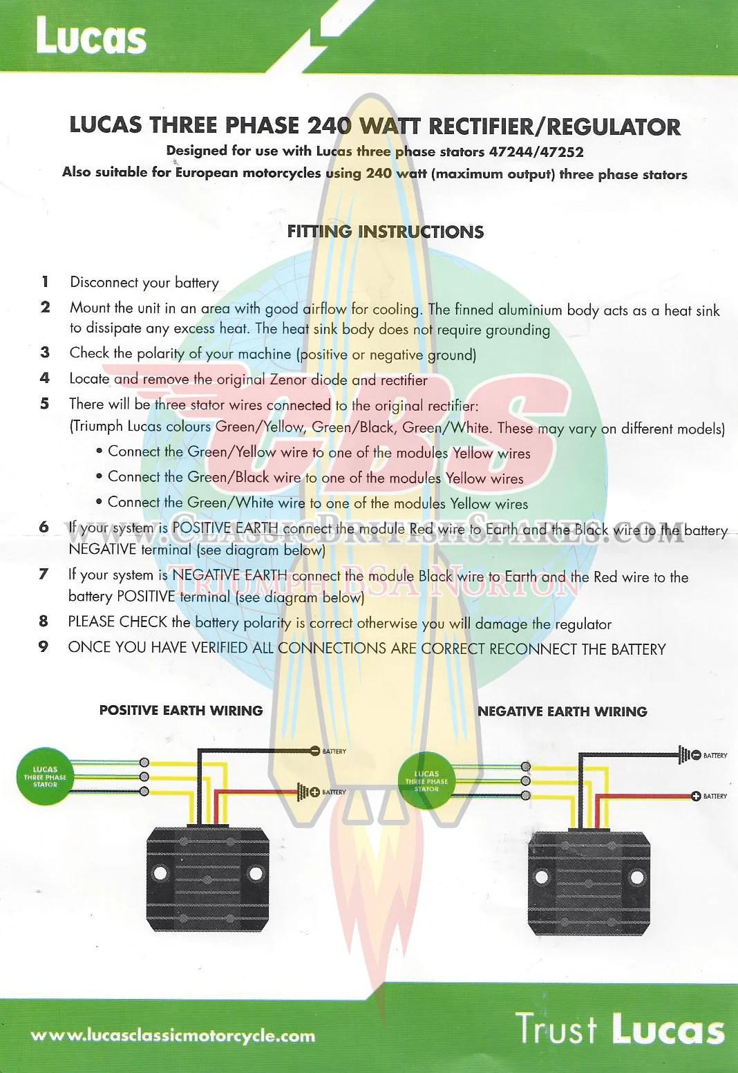 medium resolution of  lucas rectifier regulator three phase module 12v 240 watt