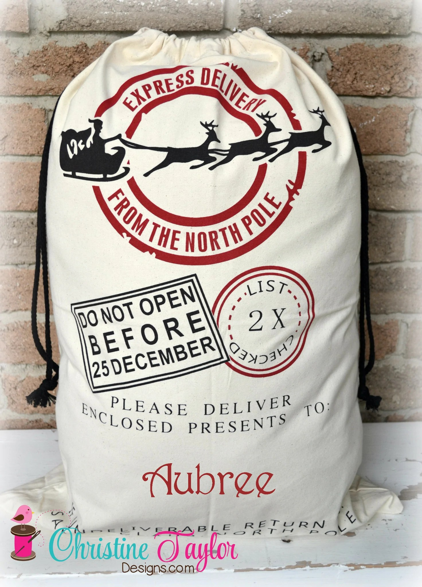 Personalized Santa Sacks Santa Sleigh Design CREAM SACK