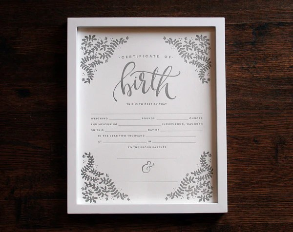 Letterpress Birth Certificate Printable Wisdom