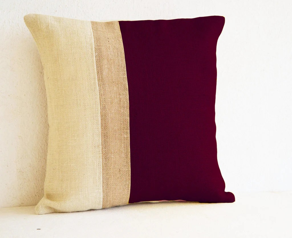 burgundy pillow burlap color block maroon ivory decorative cushion cover