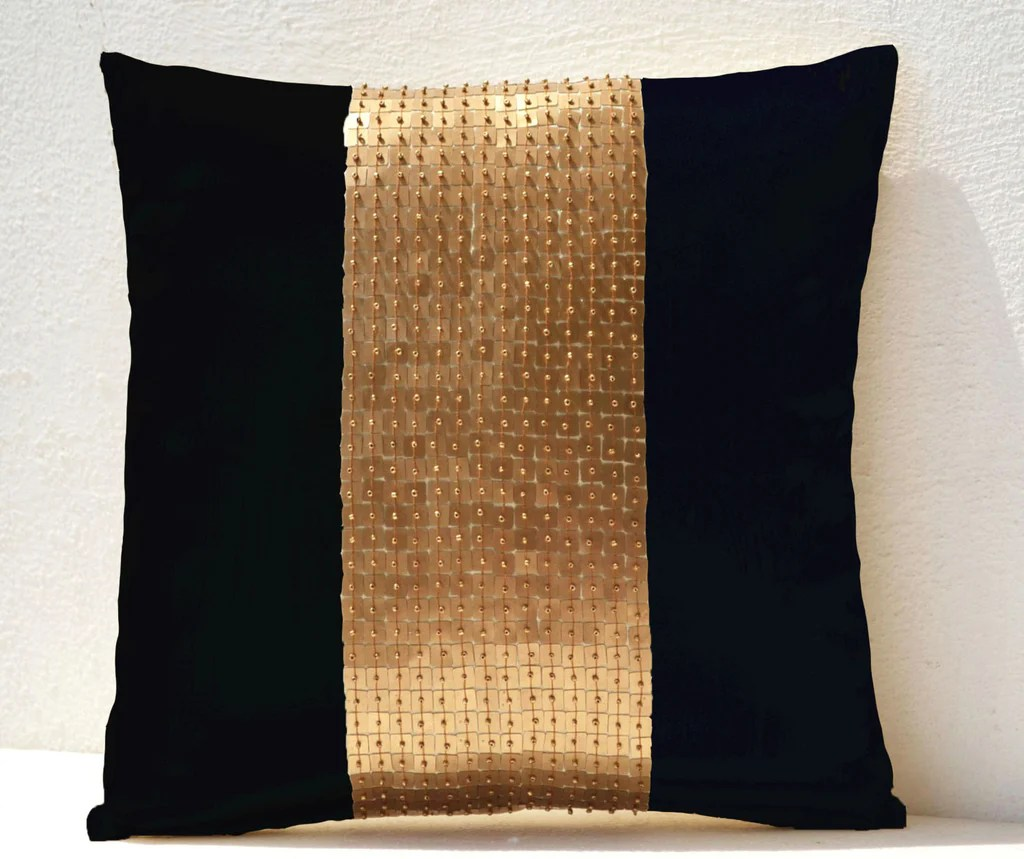 black gold color block pillow cover