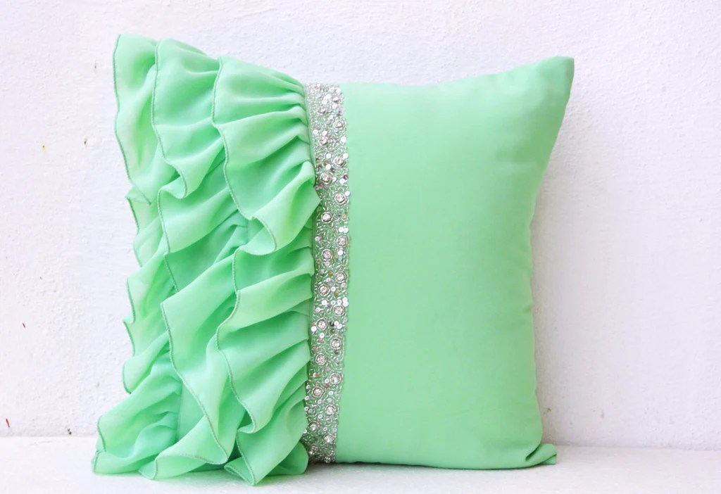 mint green ruffled beaded throw pillows 16x16 decorative throw pillow cases mint cushion cover gift rhinestone bead embroidered pillow