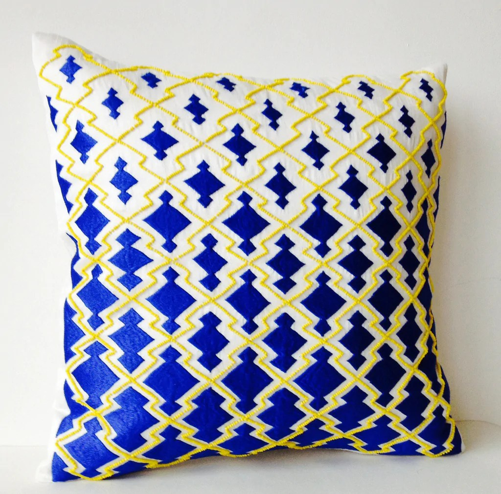 royal blue yellow bishi pillow cover