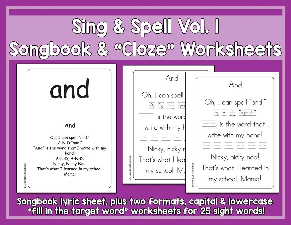 Sight Words 1 - Songbook \u0026 Worksheets - HeidiSongs   Heidi Songs [ 927 x 1200 Pixel ]
