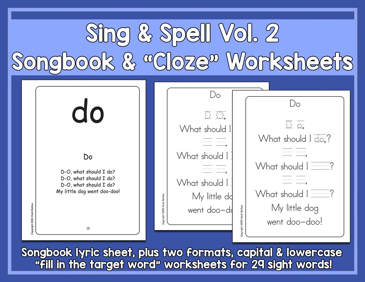 medium resolution of Sight Words 2 - Songbook \u0026 Worksheets - HeidiSongs   Heidi Songs