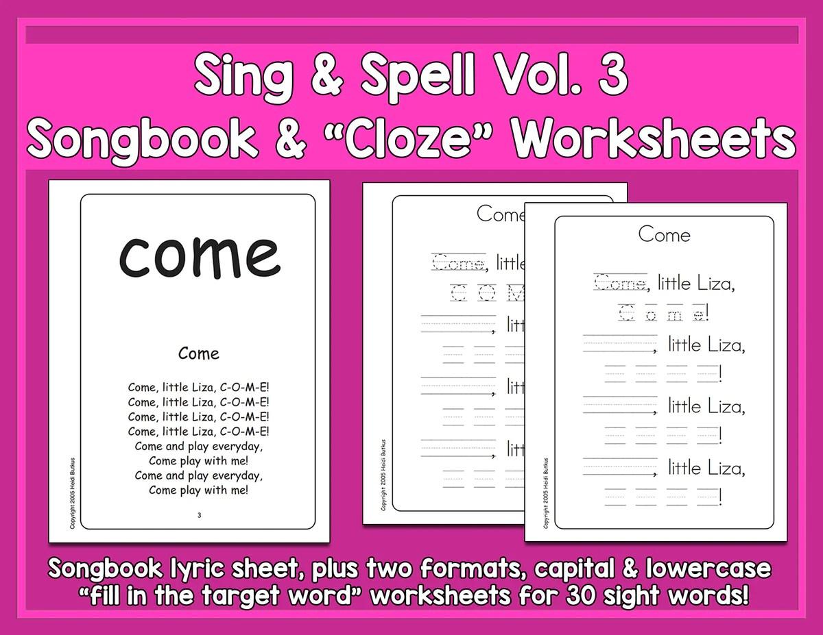 small resolution of Sight Words 3 - Songbook \u0026 Worksheets - HeidiSongs   Heidi Songs