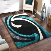 Soft Black with Grey and Green Indoor Bedroom Shag Area ...