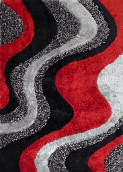 BlackGrey with Red Shag Area Rug by RugAddictioncom