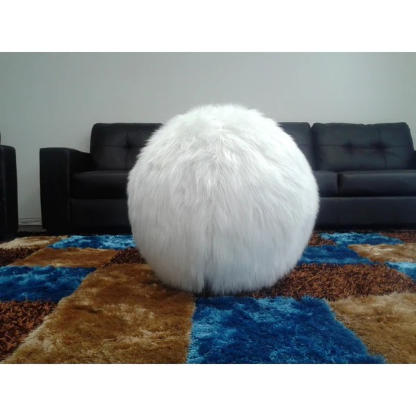 White Fitness Yoga Ball Furry with Hand Pump and Slipcover