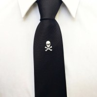 Black Skull & Crossbones Embroidered Silk Tie  Dapper ...