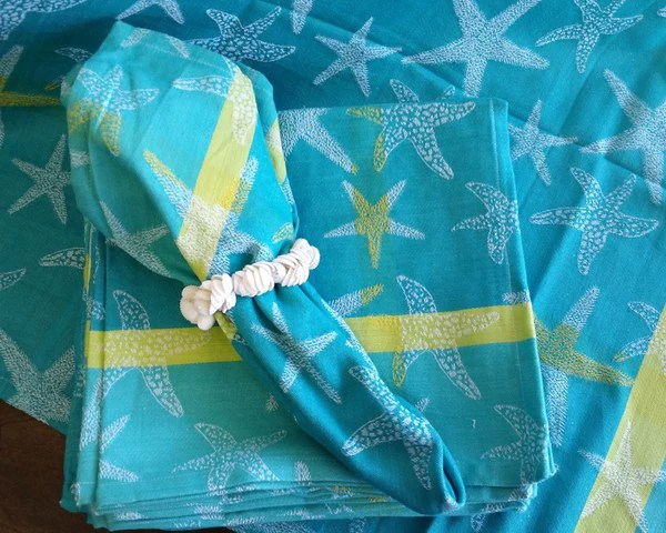 Starfish Turquoise 22 Napkin woven cotton napkin  Beach